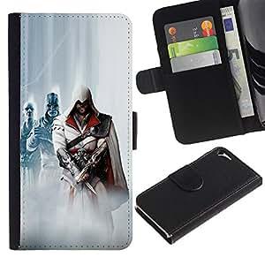 NEECELL GIFT forCITY // Billetera de cuero Caso Cubierta de protección Carcasa / Leather Wallet Case for Apple Iphone 5 / 5S // Asesinos