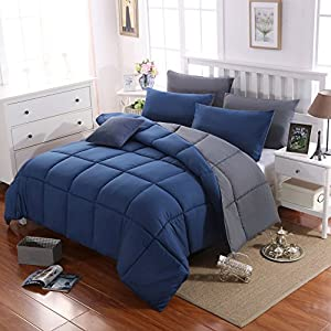 Microfiber Comforter Queen Size All-Season Light-Warmth Double Colors-Navy Blue/Dark Gray