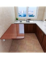 HORV Folding Table, Wall Mounted Dining Table, Drop-Leaf Computer Desk, Small Fold Down Table for Kitchen Laundry Room Restaurant Office