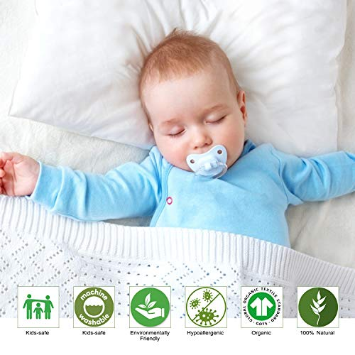 ZPECC Toddler Pillow with Pillowcase - 13 x 18 Organic Cotton Baby Pillows for Sleeping, Kids Pillow for Nap, Travel, Toddler Bed Cot Set, Machine Washable, Soft and Safe, White Stripe