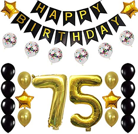5th Birthday Decorations Party Supplies Happy 5th Birthday Confetti  Balloons Banner and 5 Number Sets for 5 Years Old Party(Gold)