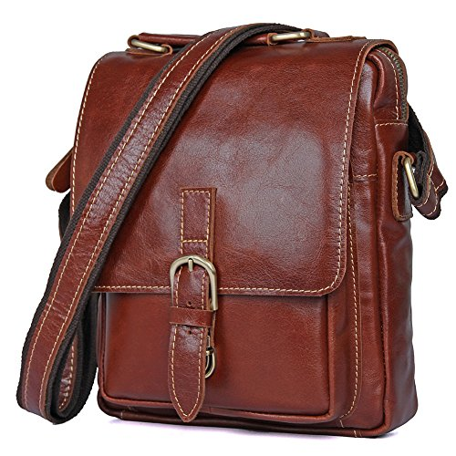 Genda 2Archer Bolso de Cuero Genuino Bolsa de Mensajero de la Solapa Bolso del iPad (21.5cm * 5cm * 26cm) (Negro) rojo Marrón