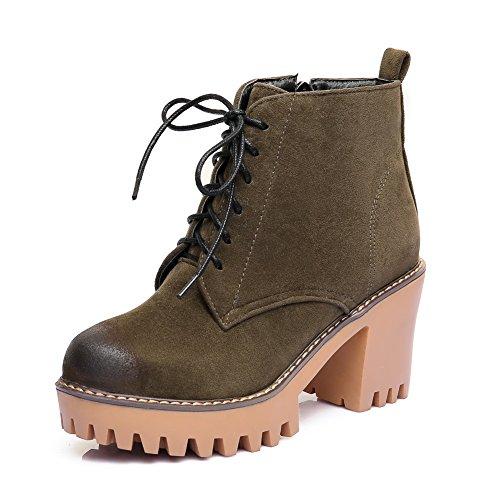 BalaMasa Womens High-Heel Zipper Platform Mid-Top Urethane Boots ABL09761 Green