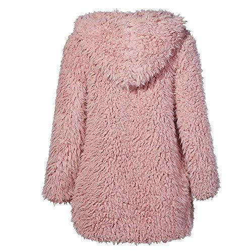 Rose Taille Femme Veste L Avec Couleur Fourrure Fourrure Hiver Capuche Zhrui En vwqCz11E