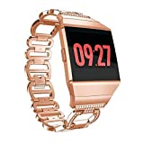 Oucan Band for Fitbit Ionic 38MM All Edition - Women Stainless Steel Crystal Diamond Replacement Bracelet Accessories Bands