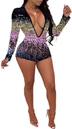 fb2d1247ff3 Amazon.com  Womens Sparkly Sequin 2 Piece Outfits V Neck Crop Top and Short  Pants Romper Jumpsuits Set  Clothing