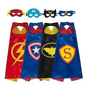 - 51KZR8pxMJL - YOHEER Dress Up Costume Set of Superhero Satin Capes with Felt Masks for Kids