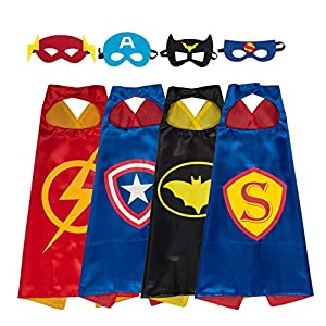 - 51KZR8pxMJL - YOHEER Dress Up Costume Set of Superhero Satin Capes with Felt Masks for Kids