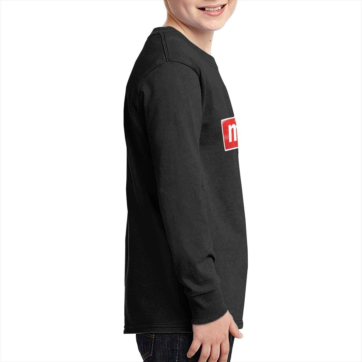 Cute Cat Hanging On Meow Youth Long Sleeve Shirts for Boys Or Girls