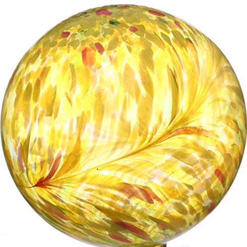 (10 inch Yellow Colorful Glass Gazing Ball for)