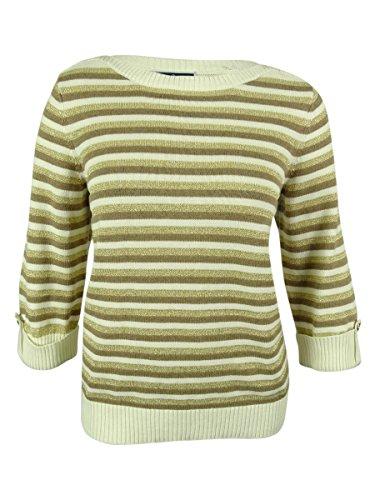Karen Scott Womens Metallic Striped Pullover Sweater Beige L by Karen Scott
