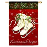 Cheap Evergreen Decorative Outdoor Large Flag Welcome Winter Ice Skates #131454