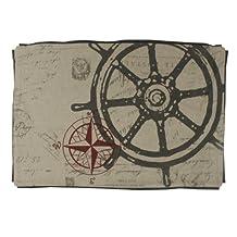 NACH NA-8939 100-Percent Cotton Decorative Ship Wheel Design Cushion Cover, 16 by 24-Inch