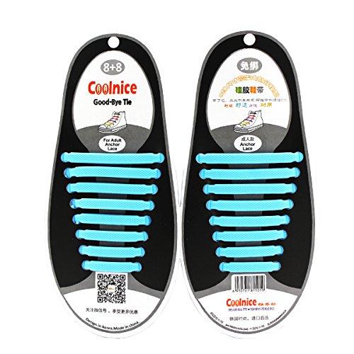 Coolnice de Cordones Elásticos para adultos y niños - ambientalmente seguro a prueba de agua Sky Blue
