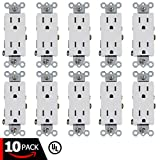 ESD Tech 15A Decora Duplex Receptacle – Tamper Resistant Electrical Wall Outlet, White, UL Listed, Residential & Commercial Grade, Straight Blade, 2-Pole (10 Pack, 15A Decora Duplex)