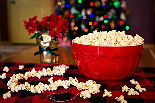 Home Comforts Peel-n-Stick Poster of Stringing Popcorn Tree Christmas String Popcorn Vivid Imagery Poster 24 x 16 Adhesive Sticker Poster Print