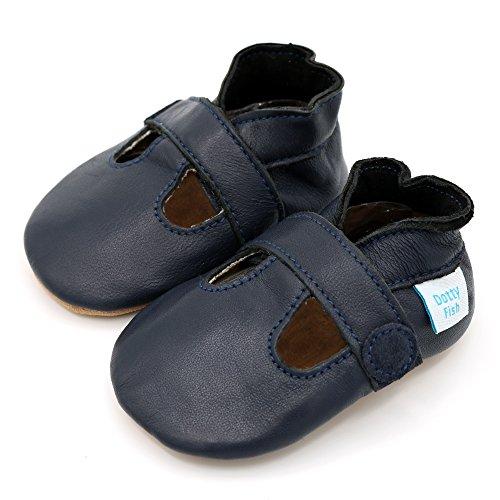 Chaussures cuir souple bébé – Dotty Fish - Garçons T-Bar - Marine - Taille 22 - 12-18 Mois