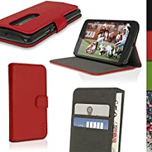 iGadgitz Premium Wallet Flip Red PU Leather Case Cover for Motorola Moto G 3rd Generation 2015 XT1540 (G3) with Card Slots + Multi-Angle Viewing stand + Magnetic Closure + Screen Protector