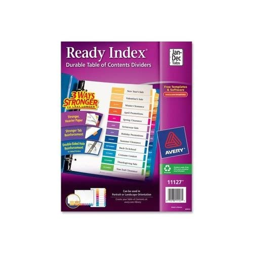 (3 Pack Value Bundle) AVE11127 Ready Index Contemporary Table of Contents Divider, Jan-Dec, Multi, Letter