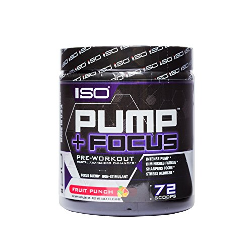 ISO PUMP+FOCUSTM NON-STIMULANT PRE WORKOUT - Energy Boost + Insane Focus + Enhanced Muscular Recovery + Improved Mental Functioning + No Crashing or Jitters, Fruit Punch, 72 Servings!
