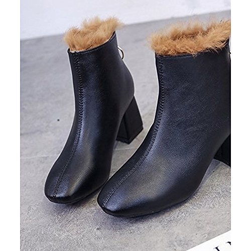 Black US6   EU36   UK4   CN36 Black US6   EU36   UK4   CN36 HSXZ Women's shoes PU Winter Fur Lining Comfort Bootie Boots Chunky Heel Round Toe Booties Ankle Boots for Casual Dress Black White