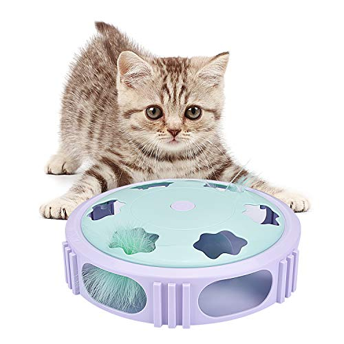 Bojafa Interactive Cat Feather Toy with Automatic Spinning Feather Cat Exercise Toys for Indoor Cats Entertainment, Training or Hunting Games