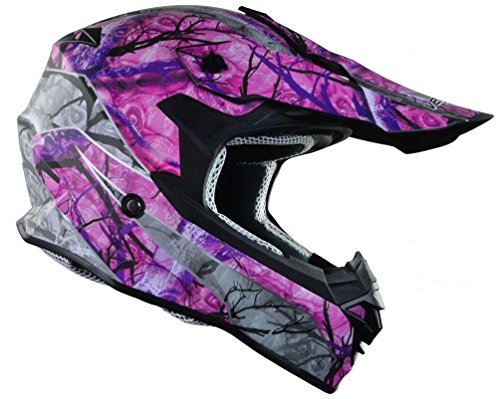 Vega Helmets VF1 Lightweight Dirt Bike Helmet – Off-Road Full Face Helmet for ATV Motocross MX Enduro Quad Sport, 5 Year Warranty (Pink Skull Camo, X-Small) (Womens Fox Mx Helmet)
