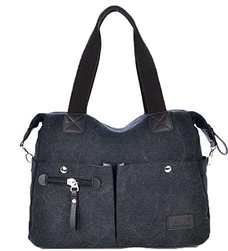 Odomolor Mujeres Moda Bolsas de hombro Lona Cremalleras Bolsos cruzados,ROPBL181205,Azul Negro