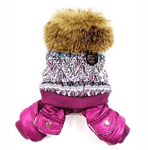 AZUDAN Dog Coats & Jackets | Purple Bubble Cotton Luxury Fur Collar Style Pet Dogs Winter Coat Popular Dogs Clothing New Coat for Dogs Winter