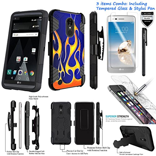 - For LG K20 Plus TP260/ LG K20V VS501/ LG Harmony /3Items [Tempered Glass]+Stylus Pen+[Impact Resistance] Dual Layer [Belt Clip] Holster Combo [KickStand] Phone Case Hotrod Flame - Black