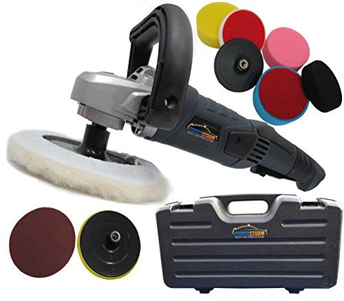 PowerStorm® Auto Poliermaschine Schleifmaschine inklusive Transportkoffer Plus-9 Polierhauben Platin Paket B