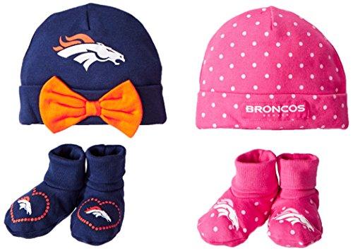 Gerber Childrenswear Dots 4 Pack Cap & Bootie Set, Denver Broncos, 0-6 Months, Gray