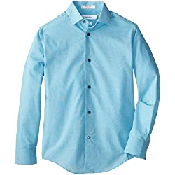 Calvin Klein Big Boys' Long Sleeve End On End, Medium Teal, 16