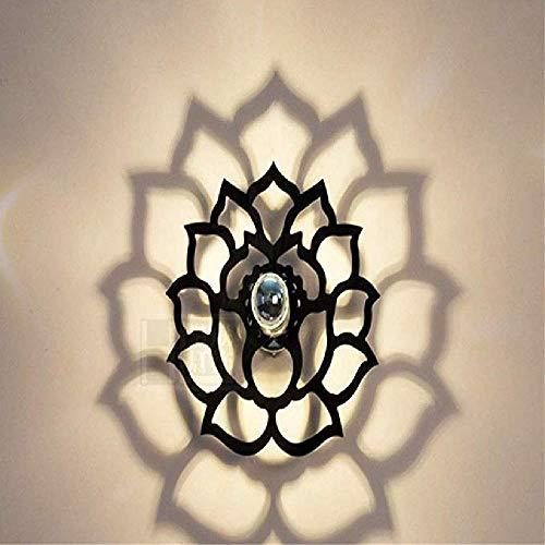 Lustre Applique Murale Nordic Creative lumièreing Salon Chambre à Coucher Allée Balcon Salle De Bains Led Lampe Murale Lotus (30Cm) Noir