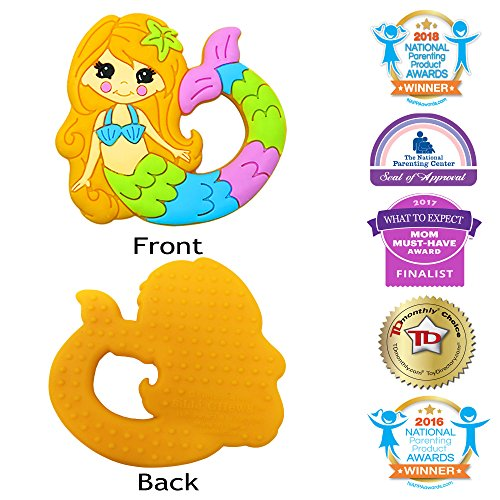 Silli Chews Cute Mermaid Baby Teether Soft Silicone Rubber Textured Teething Toy Freeze or Cool Oral Infant Toddler Pain Relief for Gums or Drool (25 Of The Best Parenting Techniques Ever)