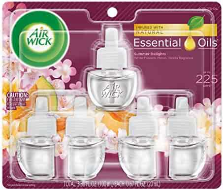 Air Wick plug in Scented Oil 5 Refills, Summer Delights, (5x0.67oz), Essential Oils, Air Freshener