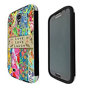 584 - Sugar Skull Shabby Chic Vintage Live Love Laugh Floral Roses Fleurs Design Samsung Galaxy S4 i9500 Full Body CASE With Build in Screen Protector Rubber Defender Shockproof Heavy Duty Builders Protective Cover