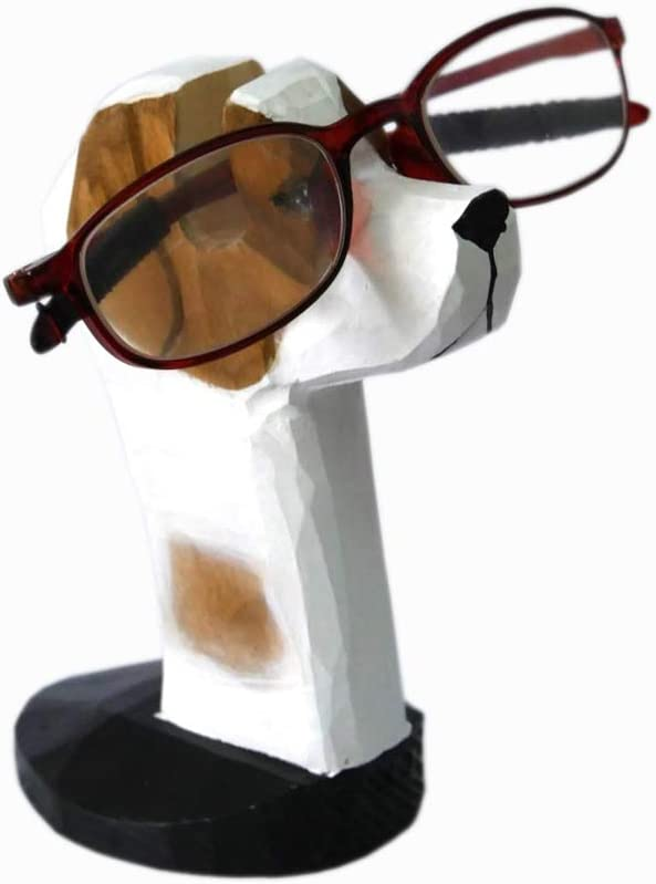 Red Dollar Handmade Wood Carved Animal Eyeglass Holder, Cute Dog Sunglasses Display Stand, Nightstand Home Office Desk School Decor, Cute Business Gift for Spring Easter Men Women Adults (Dog)