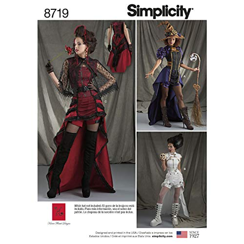 (Simplicity Sewing Pattern H0190 / 8719 - Misses' Costumes Steampunk Witch or Vampire, Halloween Vampire, R5)