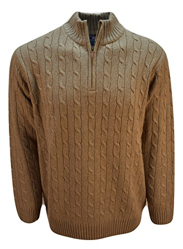 Vineyard Vines Men's Cotton Cashmere Cable Quarter Zip Sweater (M, Driftwood) ()