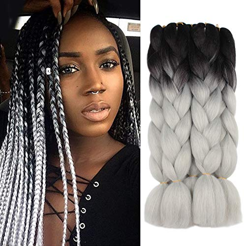 Extension Digital Hair (5 Pieces 2 Tone Ombre Braiding Hair Crochet Braids Synthetic Hair Extensions 24 Inch (Black/Light Gray#, 5pcs/Lot))