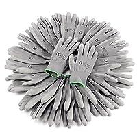 12 Pairs Grey PU Coated Nylon Safety Work Gloves Builders Garden Grip Gloves