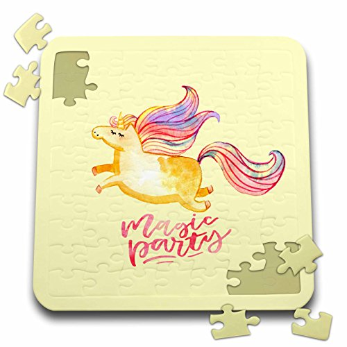 Uta Naumann Watercolor Illustration Animal - Yellow Girl Unicorn Illustration and Typography - Magic Party - 10x10 Inch Puzzle (pzl_268866_2) by 3dRose