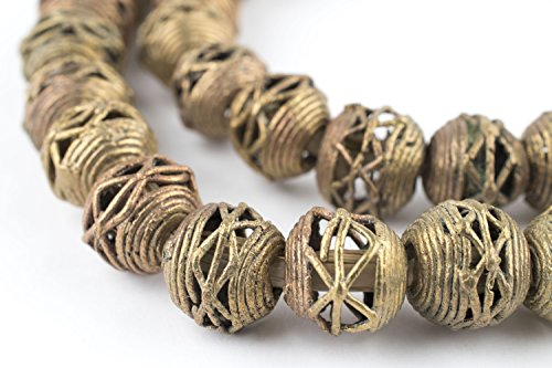 Round Filigree Metal Beads - Round Brass Filigree Beads - Full Strand of Fair Trade African Metal Beads - The Bead Chest (12mm, Criss Cross)