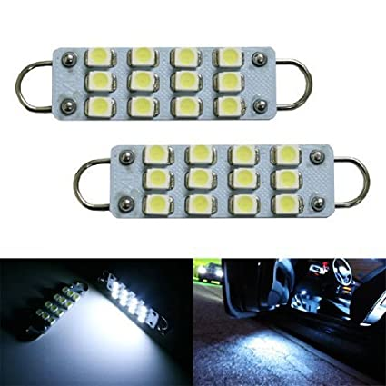 iJDMTOY 12-SMD-3528 1.72-In 43mm 211-2 212-2 214-2 561 Rigid Loop Festoon LED Bulbs For Car Side Door Courtesy Lights Xenon White