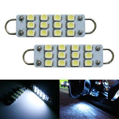 iJDMTOY 12-SMD-3528 1.72-In 43mm 211-2 212-2 214-2 561 Rigid Loop Festoon LED Bulbs For Car Side Door Courtesy Lights, Xenon - Rigid Loop Bulb