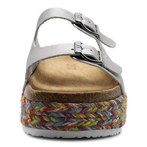 e9cb6419a98 Ollio Women s Shoe Slip On Boho Two Strap Platform Espadrilles Cork Sandals