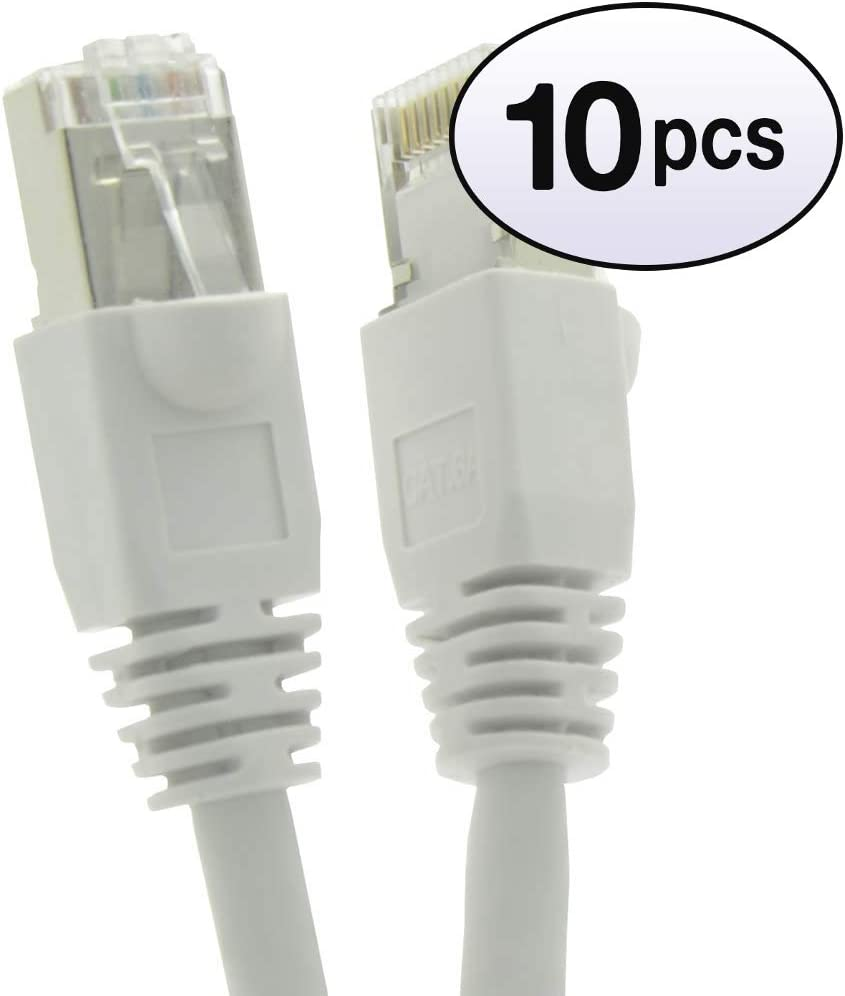 26AWG Network Cable with Gold Plated RJ45 Molded//Booted Connector GOWOS Cat6a Shielded Ethernet Cable Black 5-Pack - 1 Feet 550MHz 10 Gigabit//Sec High Speed LAN Internet//Patch Cable