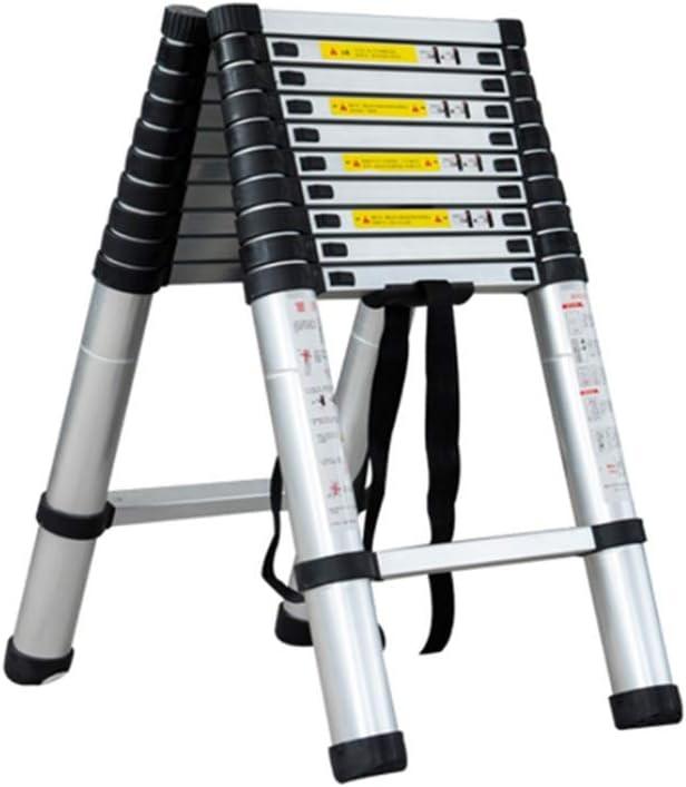 XIA Multifuncional telescópica Escalera, tubo de aluminio, 5 metros 13 Pasos Inicio Loft balcón plegable espiga de escalera (Size : 2+2m): Amazon.es: Bricolaje y herramientas