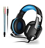 Wired PC Gaming Headset Over Ear Stereo Bass Headphone with Ambient Noise Reduction Mic 3.5mm plug cable for PS4 PC Smart Phone (Blue)